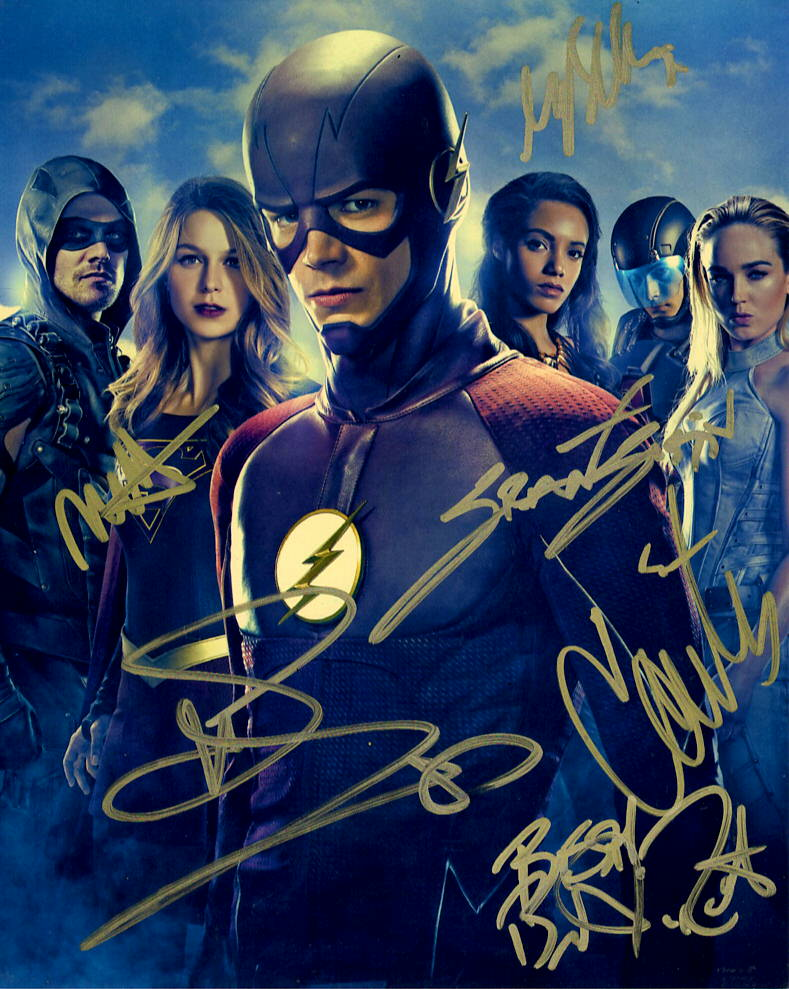 Grant Gustin Stephen Amell Caity Lotz Brandon Routh Maisie Richardson Sellers Melissa Benoist Arrow Flash Supergirl Signed Autograph 8x10 JSA LOA Arrowverse - Outlaw Hobbies Authentic Autographs