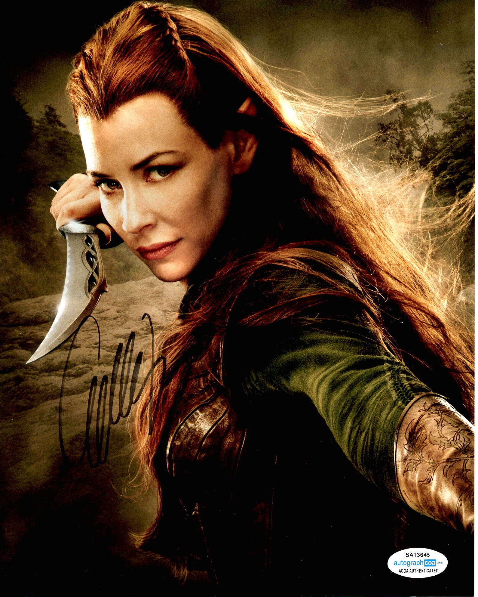 Evangeline Lilly The Hobbit Signed Autograph 8x10 Photo #3
