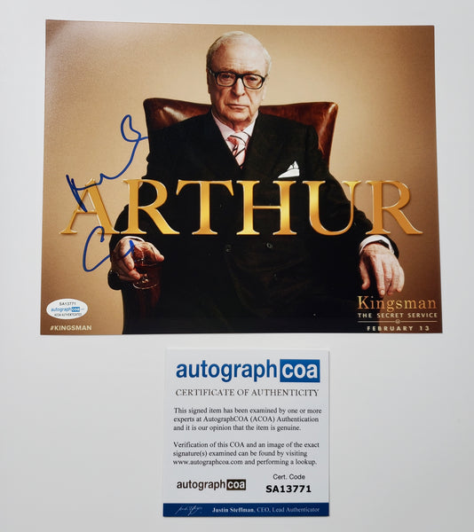 Michael Caine Kingsman Signed Autograph 8x10 Photo ACOA - Outlaw Hobbies Authentic Autographs