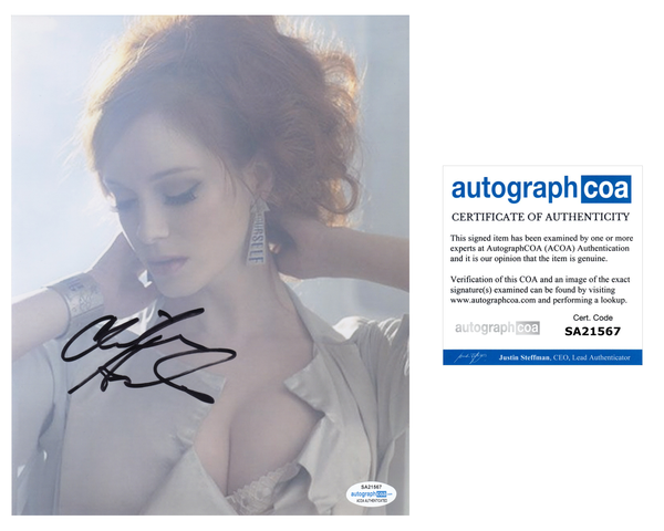 Christina Hendricks Sexy Signed Autograph 8x10 Photo ACOA - Outlaw Hobbies Authentic Autographs