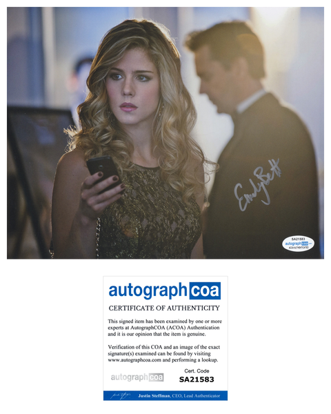 Emily Bett Rickards Arrow Autograph Signed 8x10 Photo #6 ACOA - Outlaw Hobbies Authentic Autographs