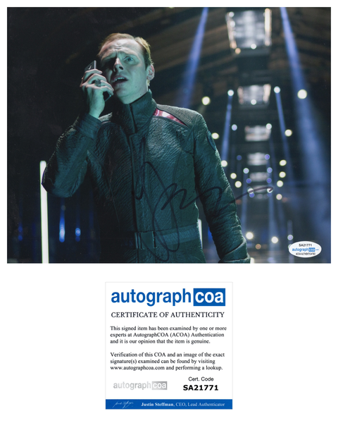 Simon Pegg Star Trek Signed Autograph 8x10 Photo ACOA #7 - Outlaw Hobbies Authentic Autographs