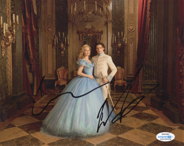 Richard Madden Lily James Cinderella Signed Autograph 8x10 Photo ACOA #3 - Outlaw Hobbies Authentic Autographs