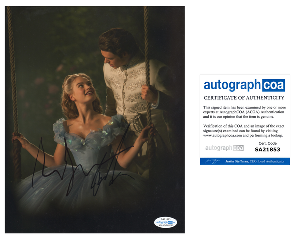 Richard Madden Lily James Cinderella Signed Autograph 8x10 Photo ACOA #2 - Outlaw Hobbies Authentic Autographs