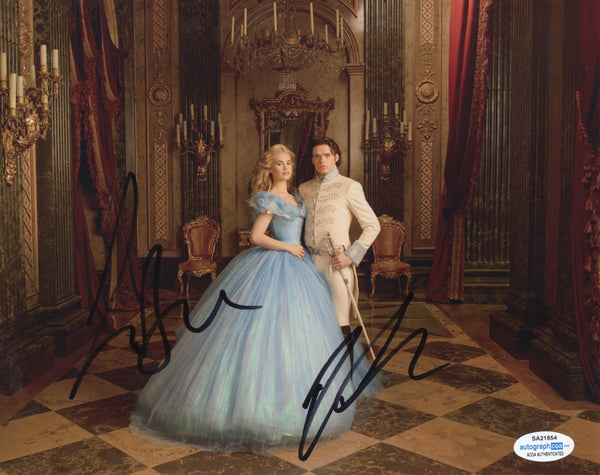 Richard Madden Lily James Cinderella Signed Autograph 8x10 Photo ACOA - Outlaw Hobbies Authentic Autographs