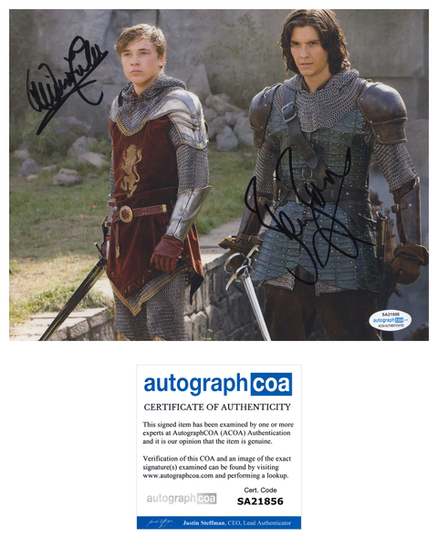 Ben Barnes & William Moseley Narnia Prince Caspian Signed Autograph 8x10 Photo ACOA - Outlaw Hobbies Authentic Autographs
