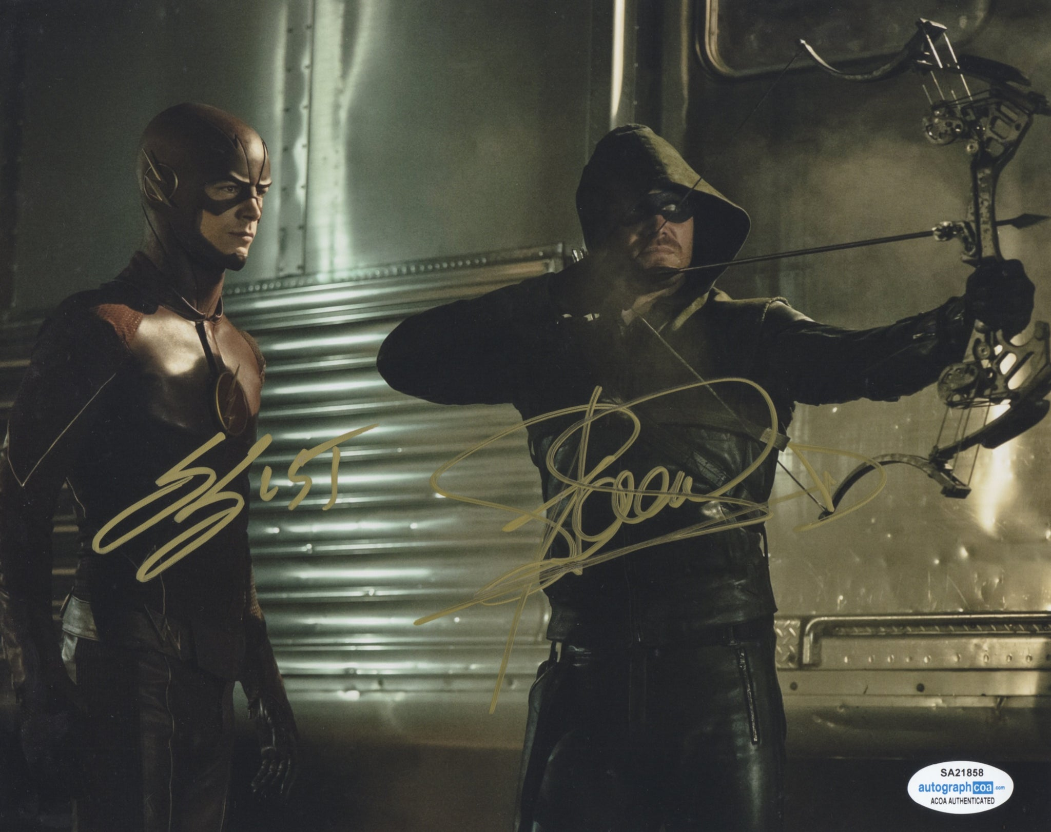 Stephen Amell & Grant Gustin Flarrow Flash Arrow Signed Autograph 8x10 Photo ACOA #2 - Outlaw Hobbies Authentic Autographs