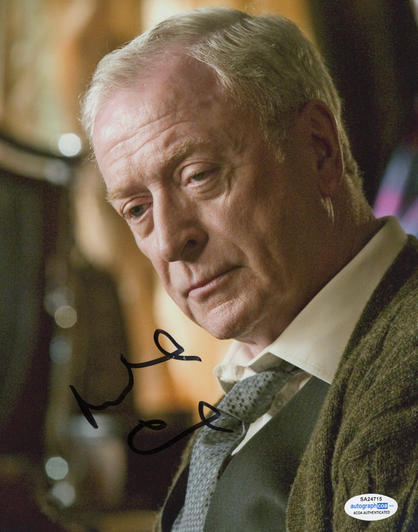 Michael Caine Dark Knight Signed Autograph 8x10 Photo ACOA #7 - Outlaw Hobbies Authentic Autographs