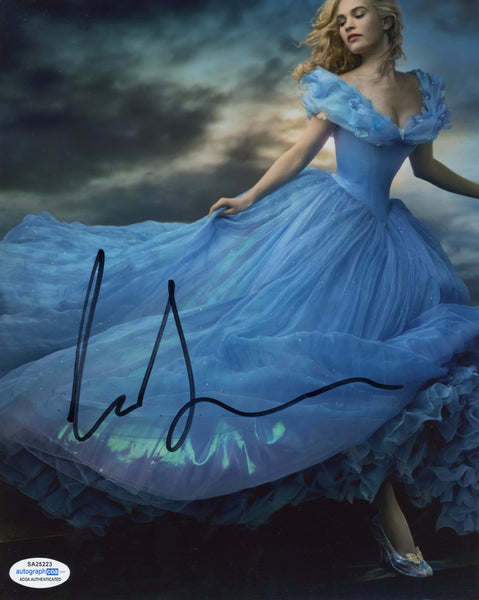 Lily James Cinderella Signed Autograph 8x10 Photo ACOA