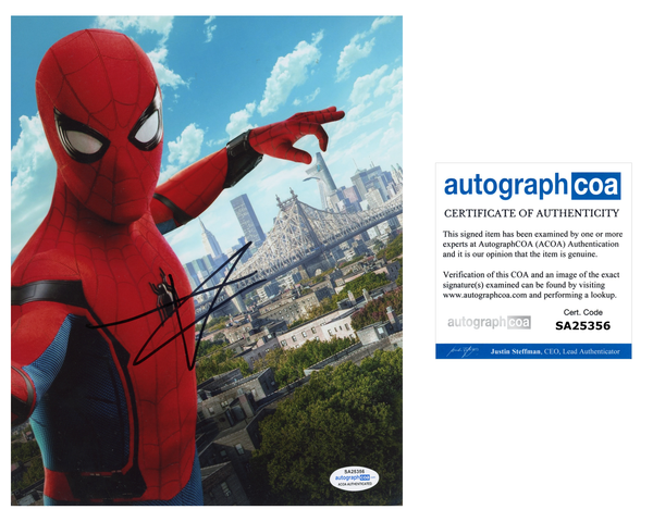 Tom Holland Spiderman Autograph Signed 8x10 Photo ACOA - Outlaw Hobbies Authentic Autographs