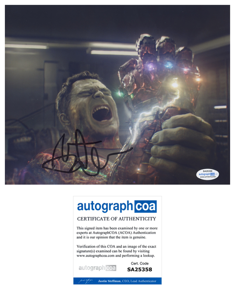 Mark Ruffalo Avengers Signed Autograph 8x10 ACOA Photo Hulk