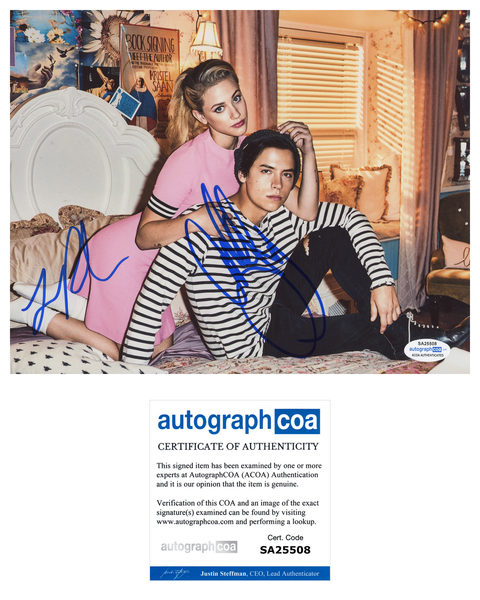 Cole Sprouse Lili Reinhart Riverdale Signed Autograph 8x10 Photo ACOA Bughead - Outlaw Hobbies Authentic Autographs