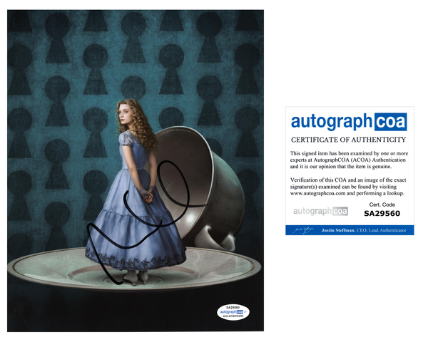 Mia Wasikowska Alice in Wonderland Signed Autograph 8x10 Photo ACOA #9