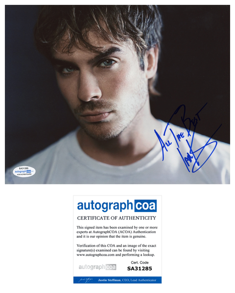 Ian Somerhalder Signed Autograph 8x10 Photo ACOA