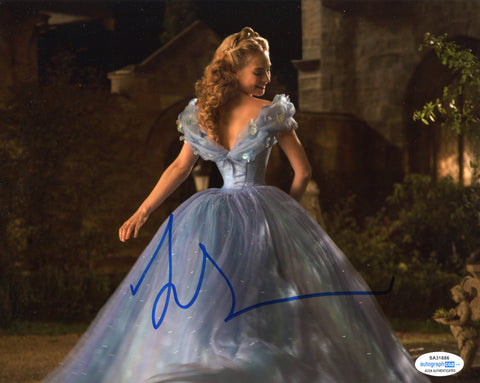 Lily James Cinderella Signed Autograph 8x10 Photo ACOA #8 - Outlaw Hobbies Authentic Autographs