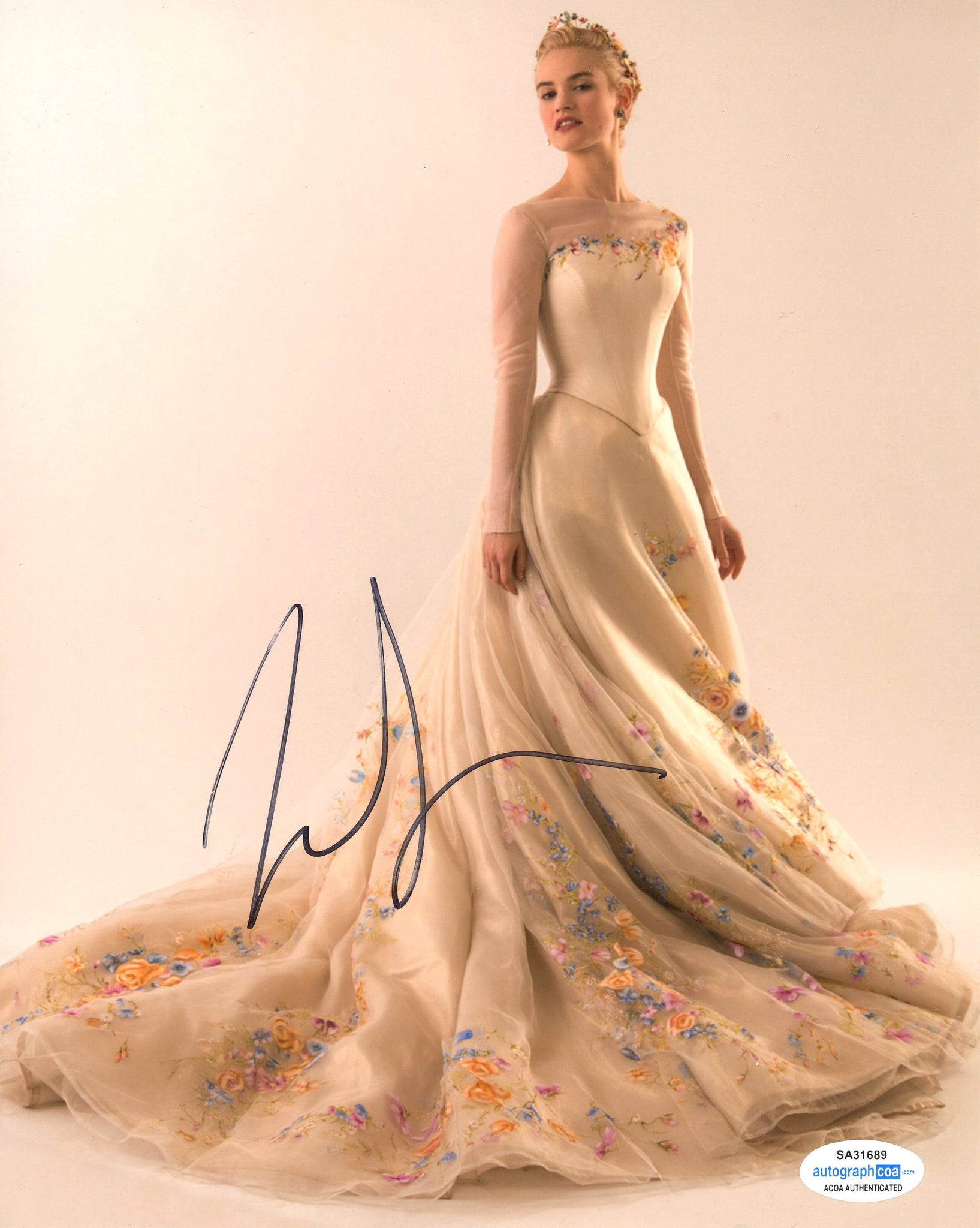 Lily James Cinderella Signed Autograph 8x10 Photo ACOA #11
