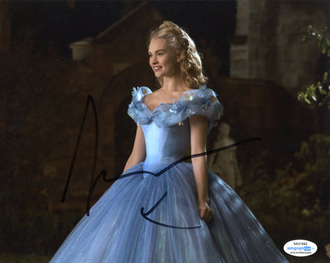 Lily James Cinderella Signed Autograph 8x10 Photo ACOA #14 - Outlaw Hobbies Authentic Autographs