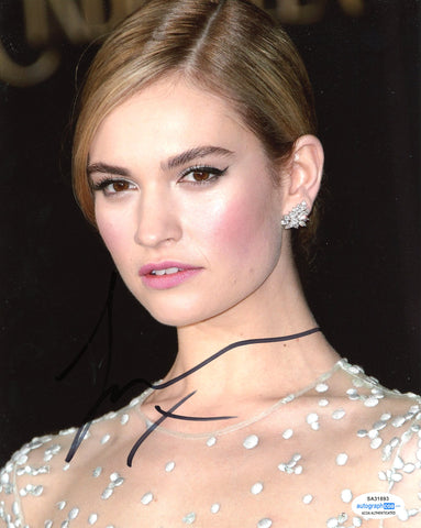 Lily James Sexy Signed Autograph 8x10 Photo ACOA #15 - Outlaw Hobbies Authentic Autographs
