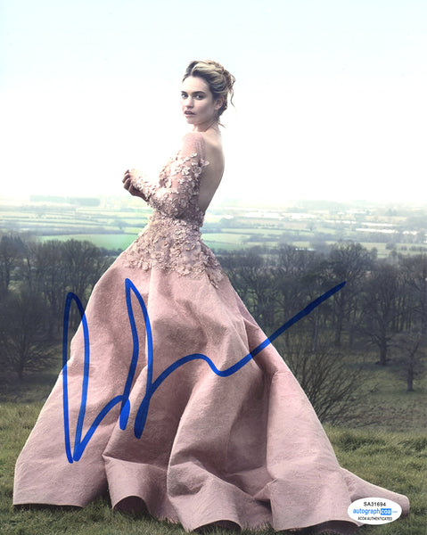 Lily James Sexy Signed Autograph 8x10 Photo ACOA #16