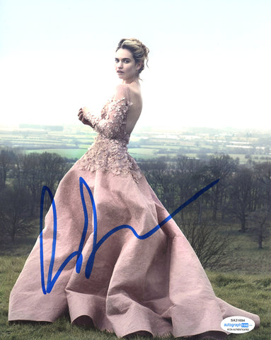 Lily James Sexy Signed Autograph 8x10 Photo ACOA #16 - Outlaw Hobbies Authentic Autographs