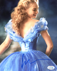 Lily James Cinderella Signed Autograph 8x10 Photo ACOA #26