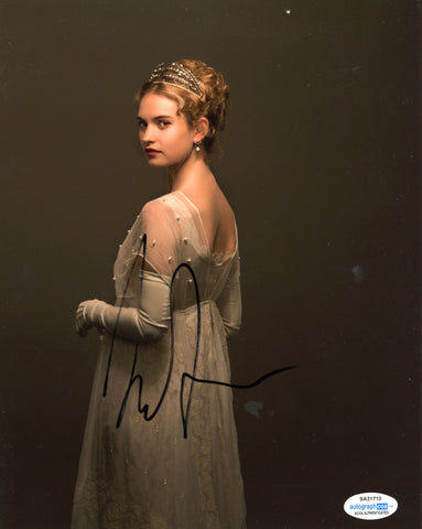 Lily James Pride Prejudice Zombies Signed Autograph 8x10 Photo ACOA #31 - Outlaw Hobbies Authentic Autographs