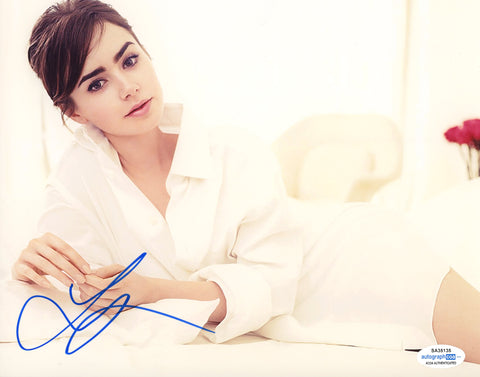 Lily Collins Emily in Paris Signed Autograph 8x10 Photo ACOA #13 - Outlaw Hobbies Authentic Autographs