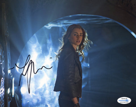 Lily Collins Mortal Instruments Signed Autograph 8x10 Photo ACOA #3 - Outlaw Hobbies Authentic Autographs