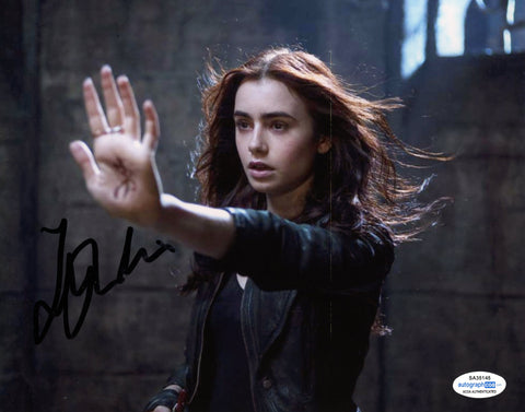 Lily Collins Mortal Instruments Signed Autograph 8x10 Photo ACOA #6 - Outlaw Hobbies Authentic Autographs