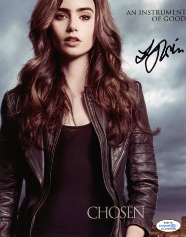 Lily Collins Mortal Instruments Signed Autograph 8x10 Photo ACOA #8 - Outlaw Hobbies Authentic Autographs