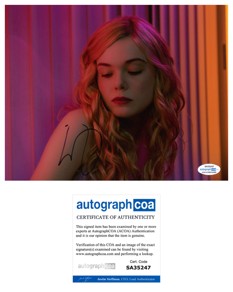 Elle Fanning Sexy Signed Autograph 8x10 Photo ACOA #14 - Outlaw Hobbies Authentic Autographs