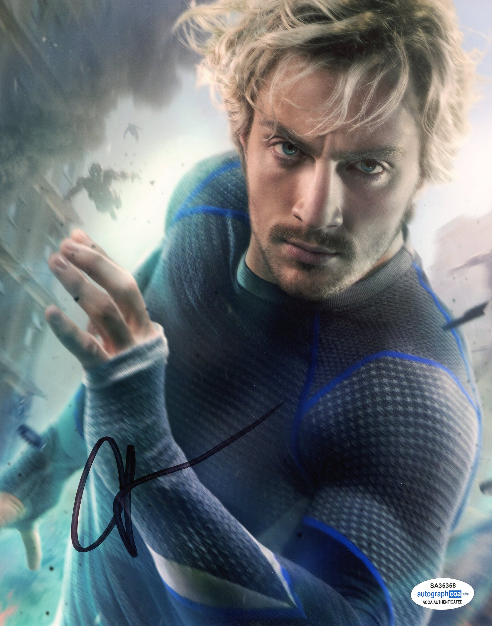 Aaron Taylor Johnson Avengers Quicksilver Signed Autograph 8x10 Photo ACOA #2 - Outlaw Hobbies Authentic Autographs