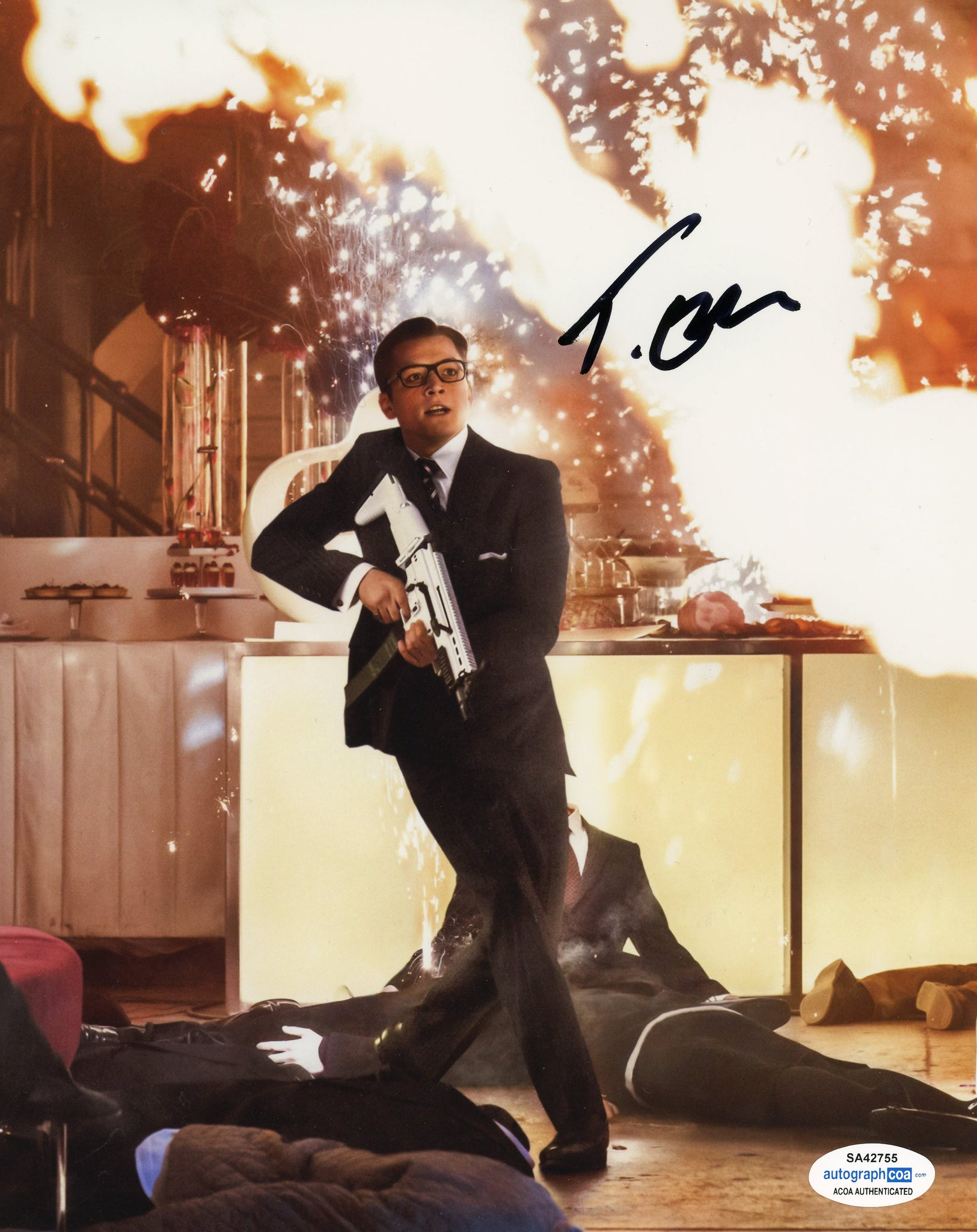 Taron Egerton Kingsman Signed Autograph 8x10 Photo ACOA #6