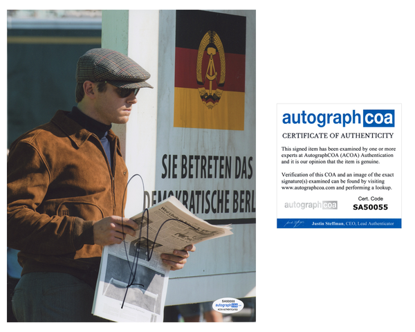 Armie Hammer Man from Uncle Signed Autograph 8x10 Photo ACOA