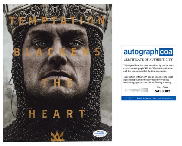 Jude Law King Arthur Signed Autograph 8x10 Photo ACOA