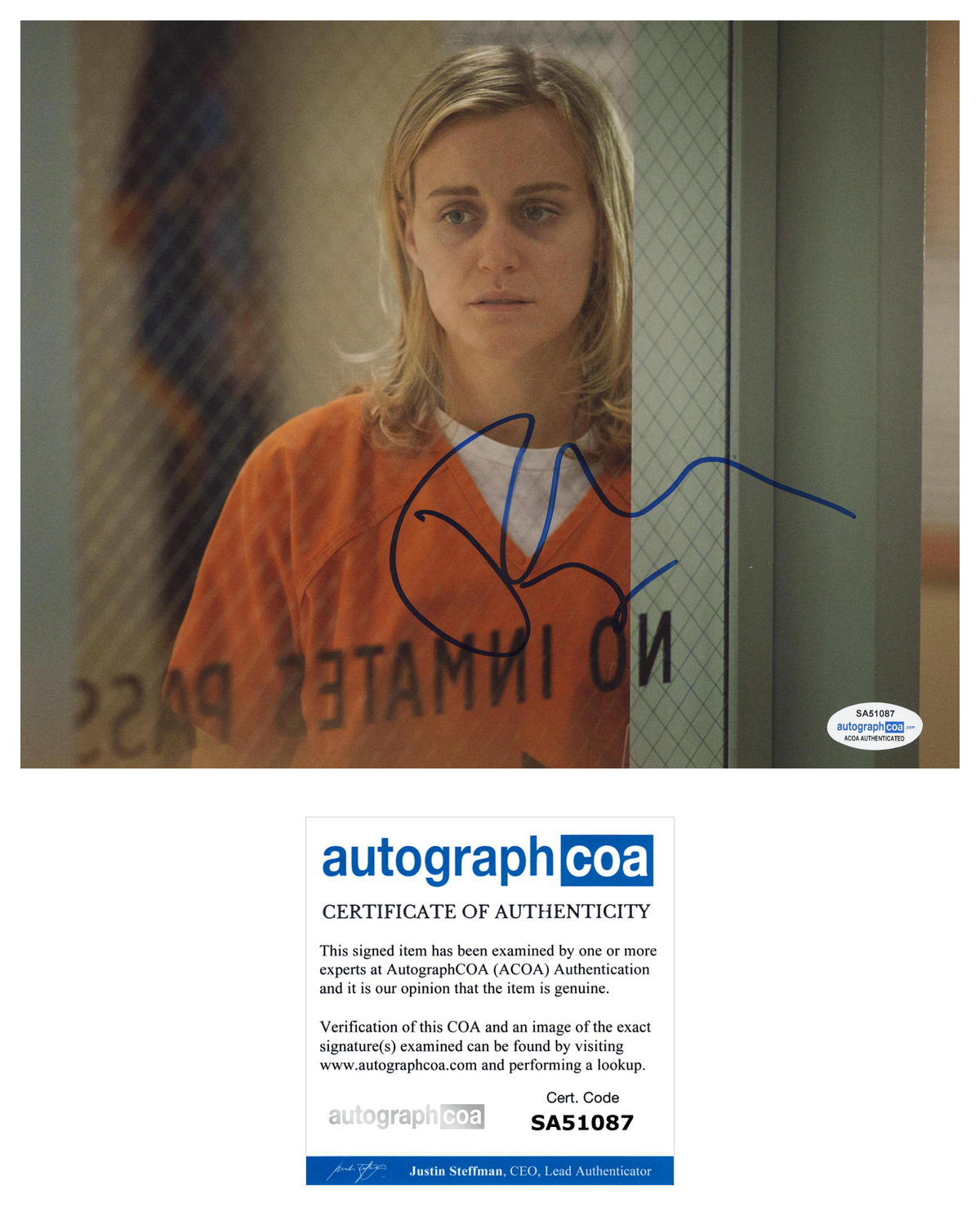 Taylor Schilling Orange is the New Black Signed Autograph