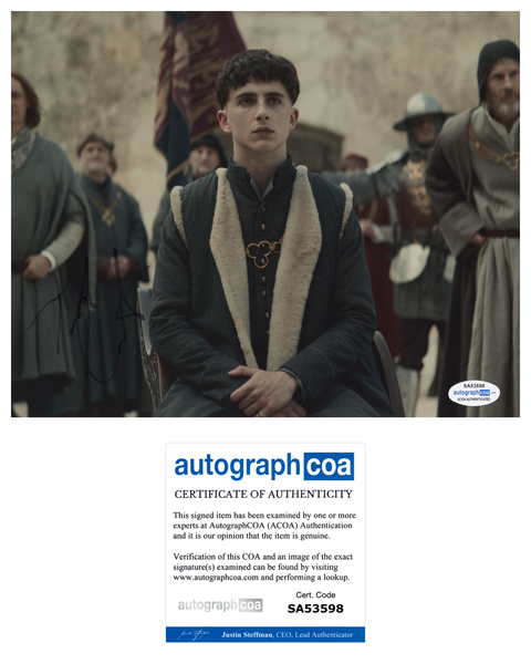 Timothee Chalamet The King Signed Autograph 8x10 Photo