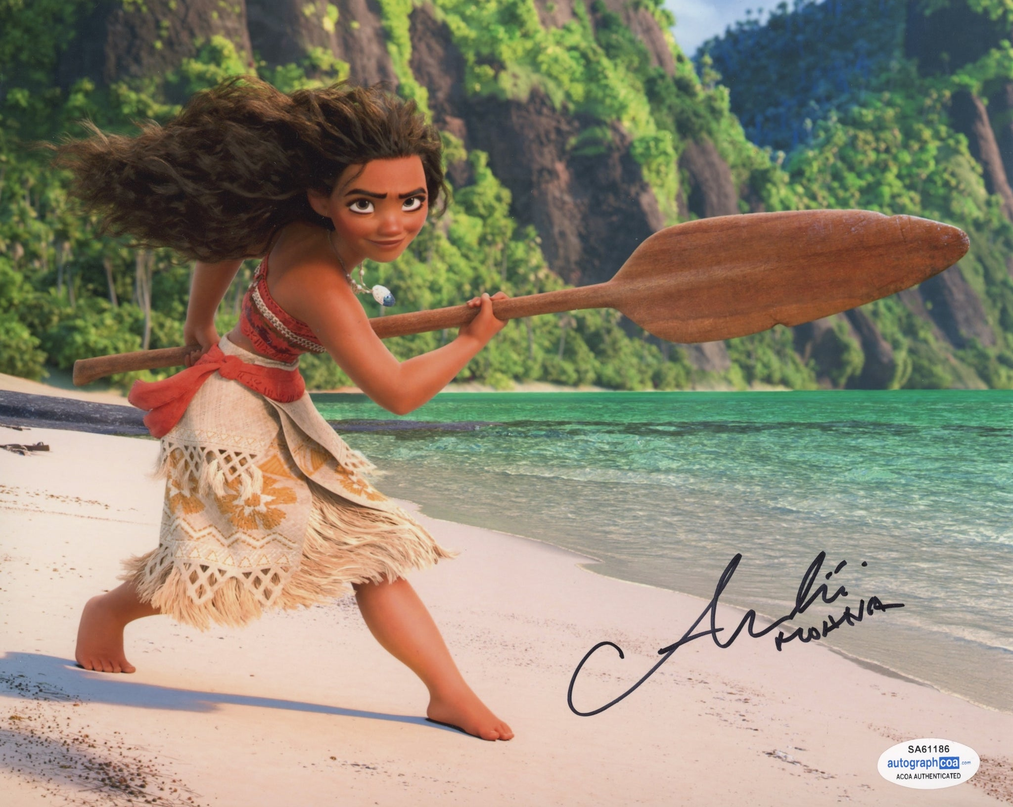Auli'i Cravalho Moana Signed Autograph 8x10 Photo ACOA