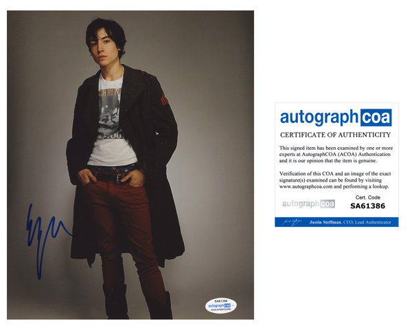Ezra Miller The Flash Signed Autograph 8x10 Photo ACOA