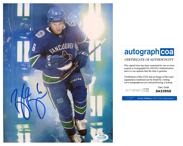 Brock Boeser Vancouver Canucks Signed Autograph 8x10 Photo COA