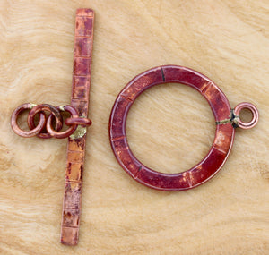 Large Toggle Clasp with Stamped Lines