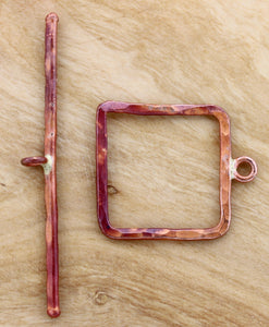 Large Square Hammered Toggle Clasp