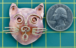 Cat Head Slider Charm for 10mm Flat Leather