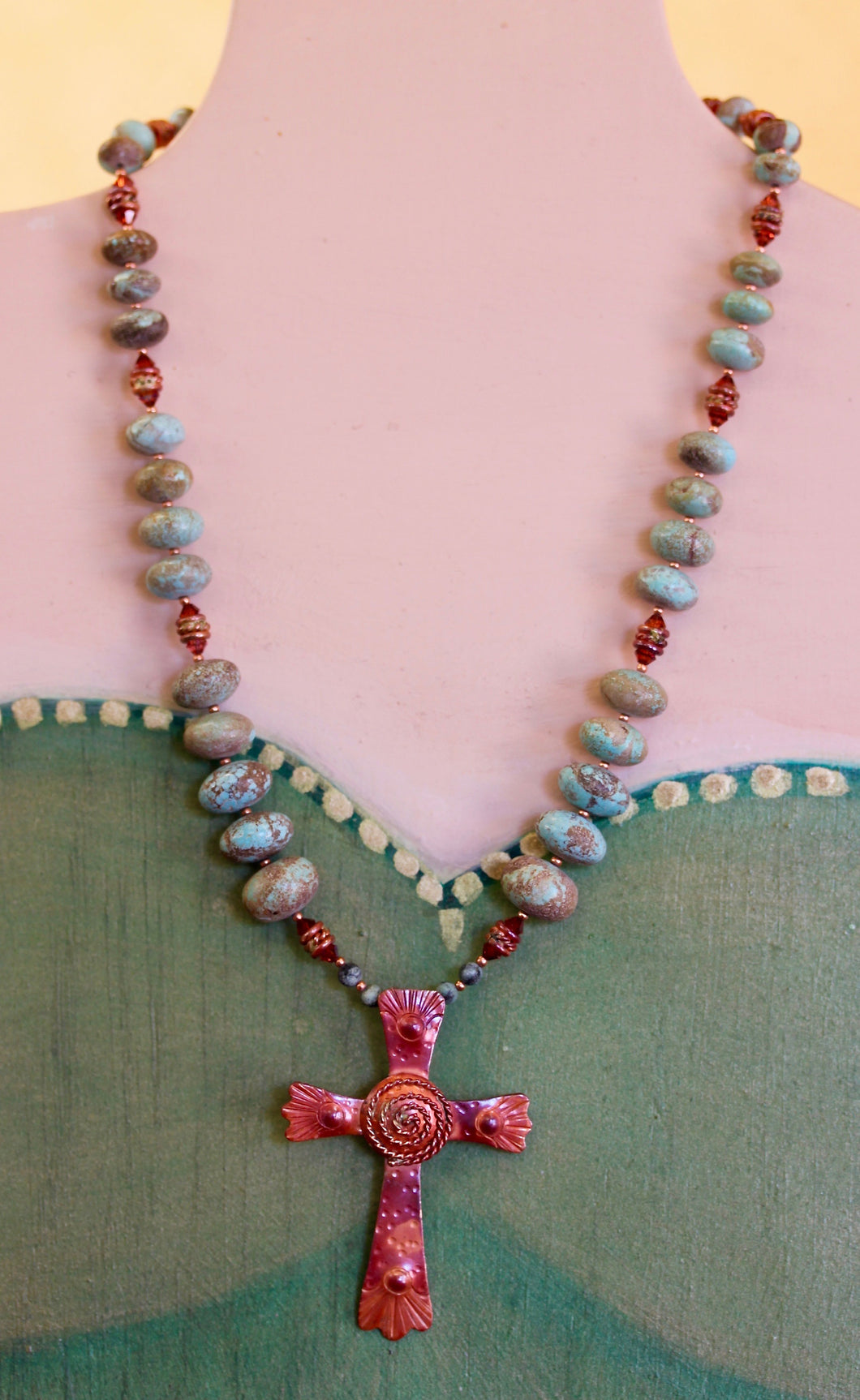 Big Cross with Swirl Finished Necklace