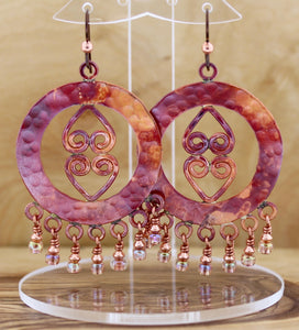 Chandelier with Hearts in Center Earrings