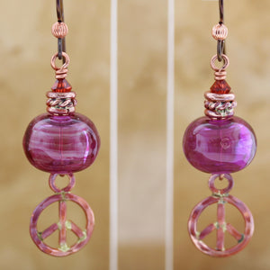 Peace Symbol with Purple Lampwork Bead Earrings
