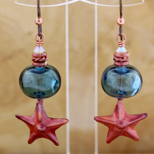 Star and Blue Lampwork Beads Earrings