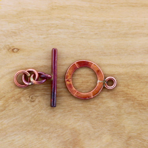 Small Toggle Clasp with Stamped Lines