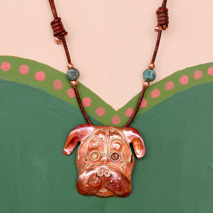 Short Snouted Copper Dog Necklace on Sliding Leather