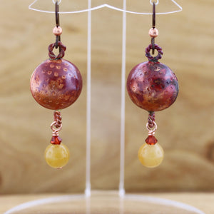 Puffy Copper earring with Yellow Jade Bead